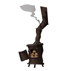 Ancient rusty stove which is heated with firewood vector
