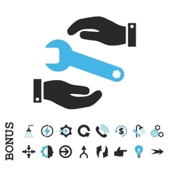 Service flat icon with bonus vector