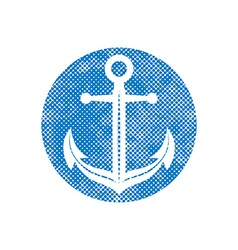 Anchor icon with pixel print halftone dots texture vector image