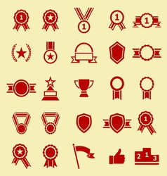 Award color icons on yellow background vector image