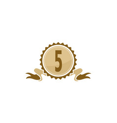 Best quality ribbon number 5 vector