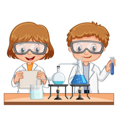 boy and girl do science experiment together vector image