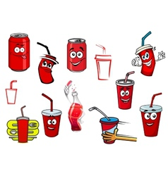 Cartoon cola and soda drinks vector image vector image