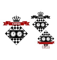 Chess symbols with clocks on chessboard vector