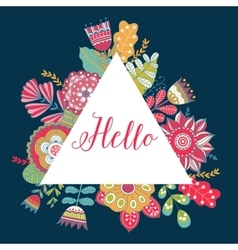 Floral card with colorful flowers in vector