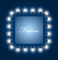 Frame of luminous light bulbs - theatre poster vector image