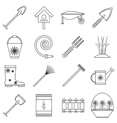 Gardener tools icons set outline style vector
