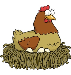 hen on the nest vector image vector image