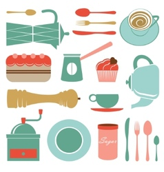 Kitchen set in soft colors vector image vector image