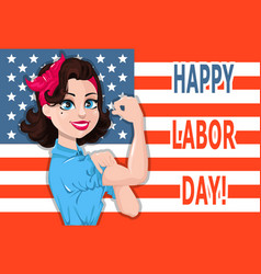 Labor day poster pop art strong woman with usa vector