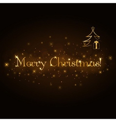 Merry Christmas gold card vector image