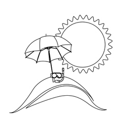 monochrome contour with beach and vacation objects vector image
