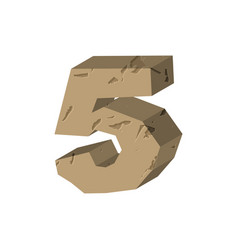 Number 5 stone rock font five stones alphabet vector