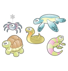 Reptiles and Spider Family vector image vector image
