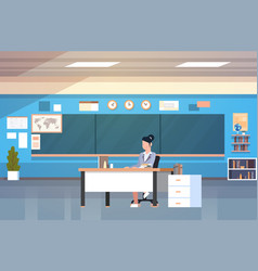 school classroom interior woman teacher sitting at vector image vector image