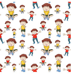 Seamless background with boys in yellow and red vector