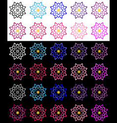 Set of lotuses performed a bold stroke vector