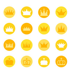 Set of royal crowns on color background vector