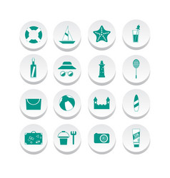 simple summer icons vector image vector image