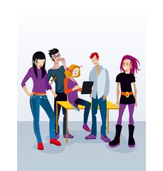 Students with digital tablet vector