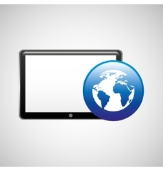 Tablet technology icon globe communication vector
