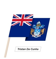 Tristan da cunha ribbon waving flag isolated on vector