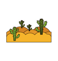 White background with landscape of desert with vector