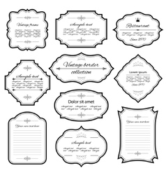 Vintage frames and labels set isolated on white vector