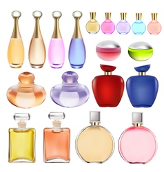 set of perfume bottles vector image