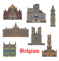 Belgian travel landmarks icon for tourism design vector