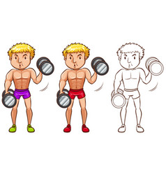 Doodle character for man doing weightlifting vector