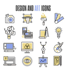 Design and art icons in flat design artistic vector