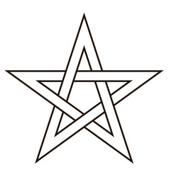Pentagram five end star with weave sides vector