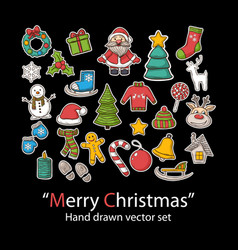 Merry christmas setfashion patch badges vector