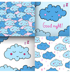 Set of seamless pattern with cartoon sleeping vector