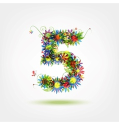 Five floral number for your design vector image