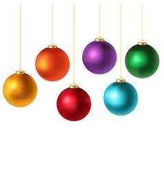 Color christmas balls set vector