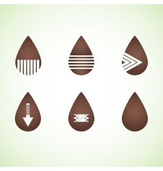 Six brown abstract drops eps10 vector