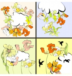 set of four floral card vector image