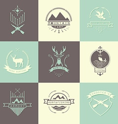 Set of camping and hunting logos vector