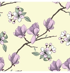 Seamless pattern with apple tree vector