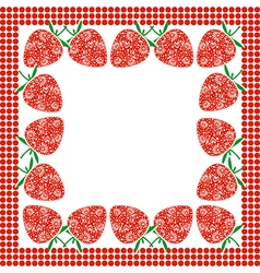 Card with berries empty square form with ornament vector