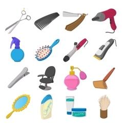 Barber shop cartoon icons vector image vector image