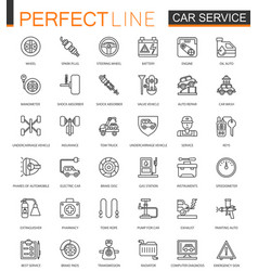 car repair service thin line web icons set vector image
