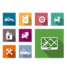 Car service flat icons set vector image vector image