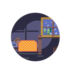 Cartoon brown bear sleeping in his bed at home vector