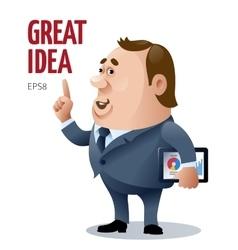 Cartoon businessman who has a great idea vector