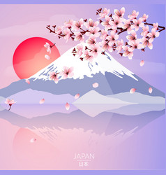 Cherry blossom with mountain and sun vector