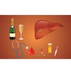 Cirrhosis with liver medicine alcohol vector