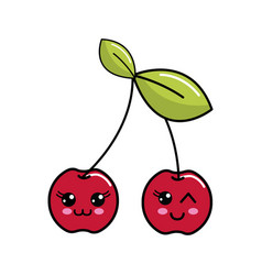 color kawaii happys cherrys icon vector image vector image